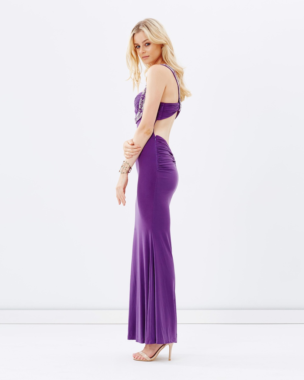 SKIVA Beaded Evening Dress with Low Back Dresses Purple Beaded Evening Dress with Low Back