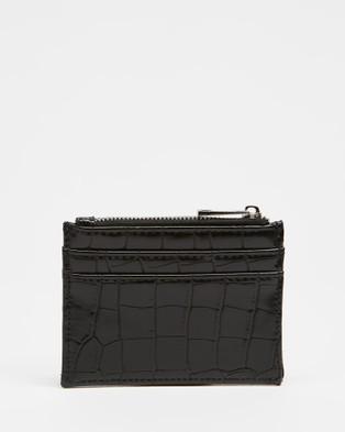 PETA AND JAIN Ivy Slim Card Wallet - Wallets (Black Croc)