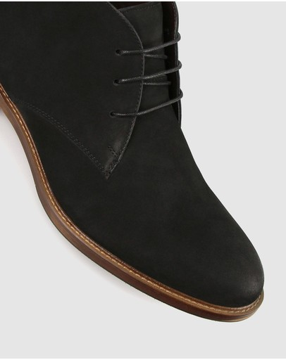 Zu Brooklyn Leather Lace Up Ankle Boots Black