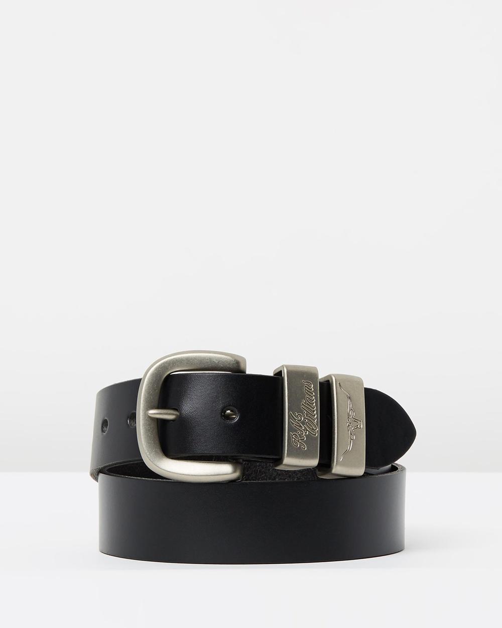 "R.M.Williams 1 2"" 3 Piece Solid Hide Belt Belts Black 1-2"""