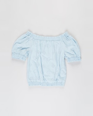Free by Cotton On - Sasha Broderie Top   Teens - Tops (Frosty Blue) Sasha Broderie Top - Teens