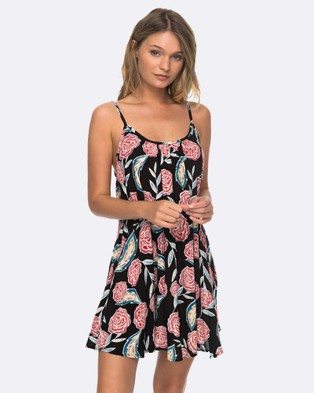 Roxy – Womens Windy Fly Away Printed Dress – Swimwear ANTHRACITE MEXICAN R