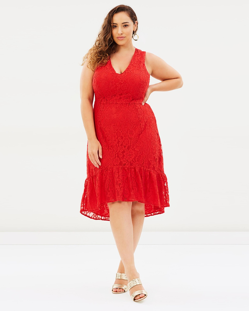 Atmos & Here Curvy ICONIC EXCLUSIVE Lacey High Low Dress Dresses Red ICONIC EXCLUSIVE Lacey High Low Dress