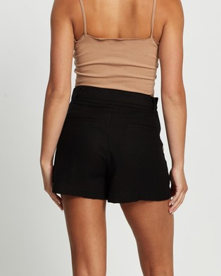 Atmos&Here Jorja Button Front Shorts - High-Waisted (Black)