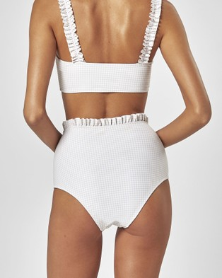 Charlie Holiday Atlantis High Waisted Brief - Bikini Bottoms (Biscuit Gingham)
