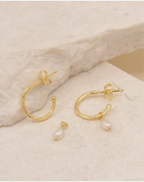 By Charlotte - Eternal Peace Gold Hoop Earrings with Fresh Water Pearl