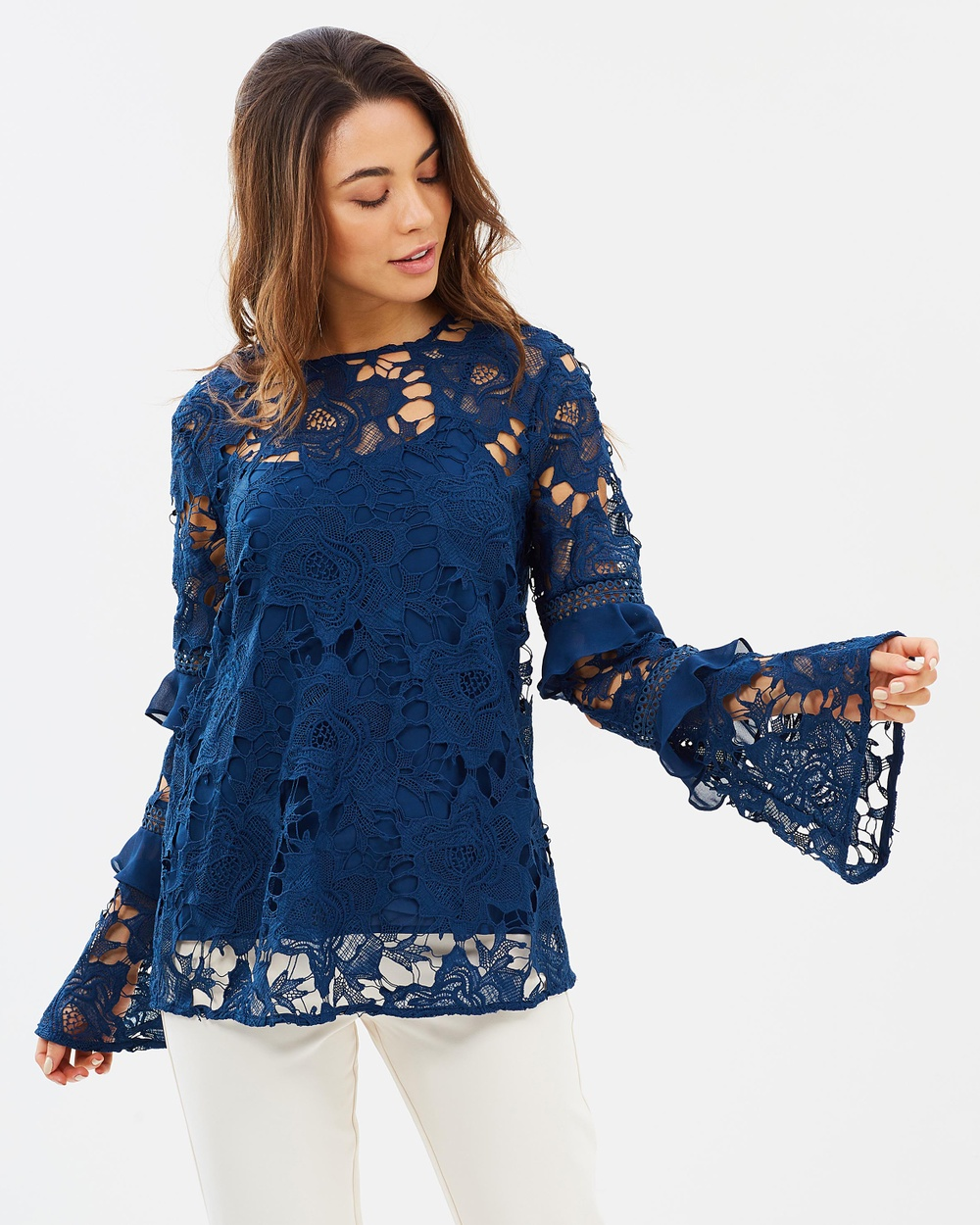Cooper St Lustrous Lace Long Sleeve Top Tops Navy Lustrous Lace Long Sleeve Top