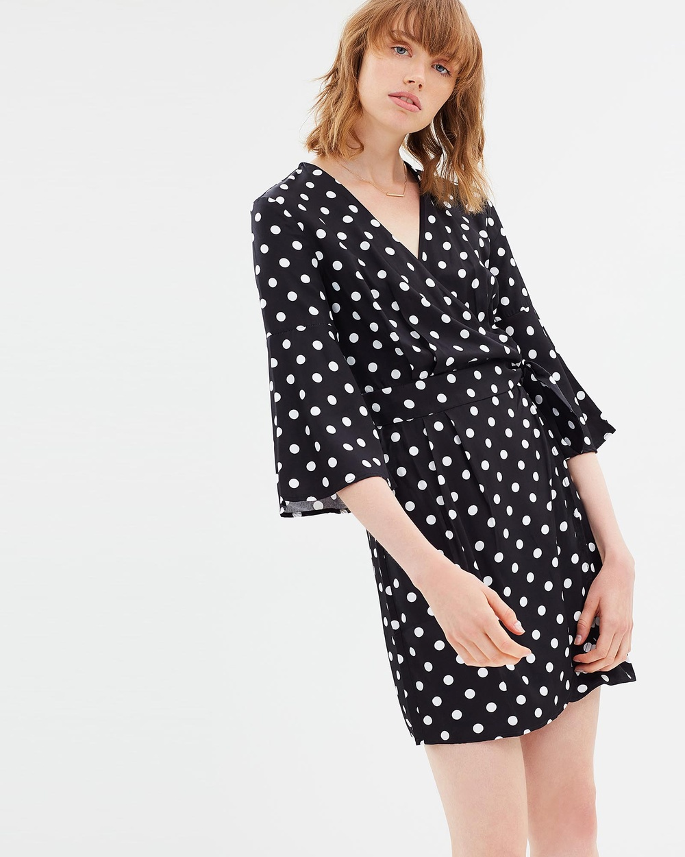 Third Form Spotted Wrap Dress Printed Dresses Black Spot Spotted Wrap Dress