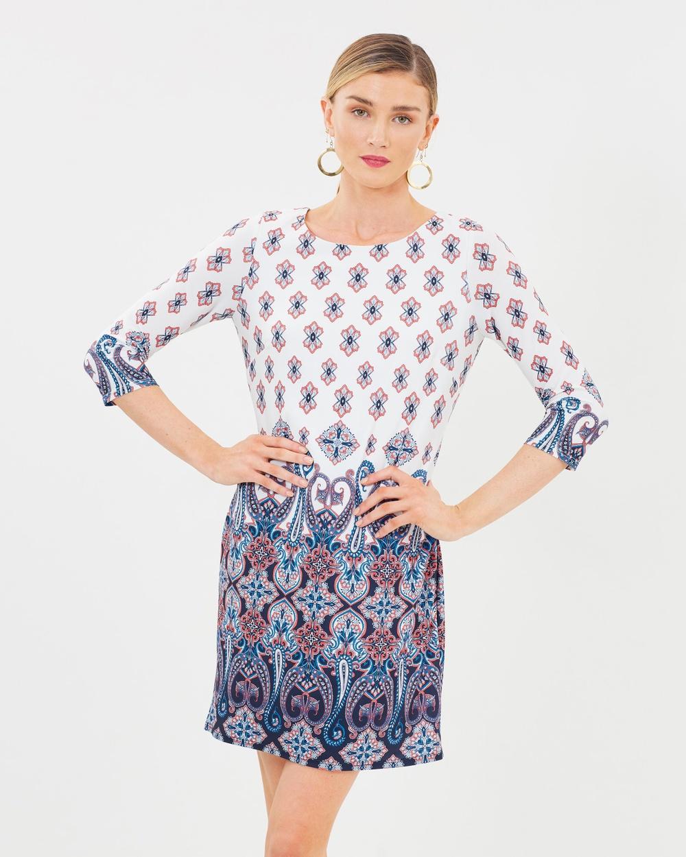 Wallis Detailed Print Shift Dress Printed Dresses Cream Detailed Print Shift Dress