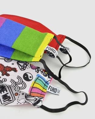 Ford Millinery 3 Pack Reusable Fabric Face Masks (Rainbow)