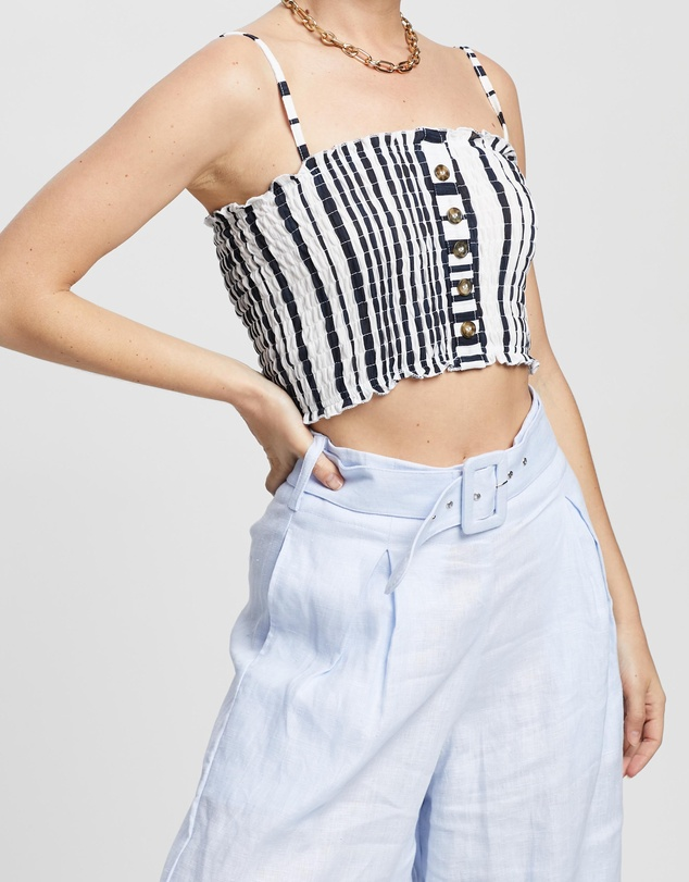 TOPSHOP Petite - Petite Striped Horn Button Camisole Top
