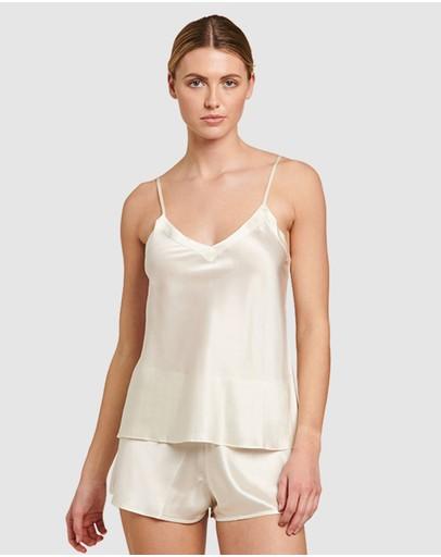 Ginia Silk V-neck Camisole Creme