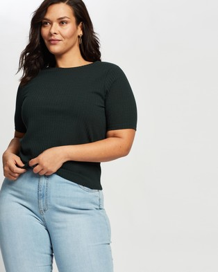 Atmos&Here Curvy Olly Soft Knit Rib Tee - T-Shirts & Singlets (Forest Green)