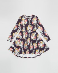 Rock Your Kid - Midnight Chintz Long Sleeve Waisted Dress - Kids