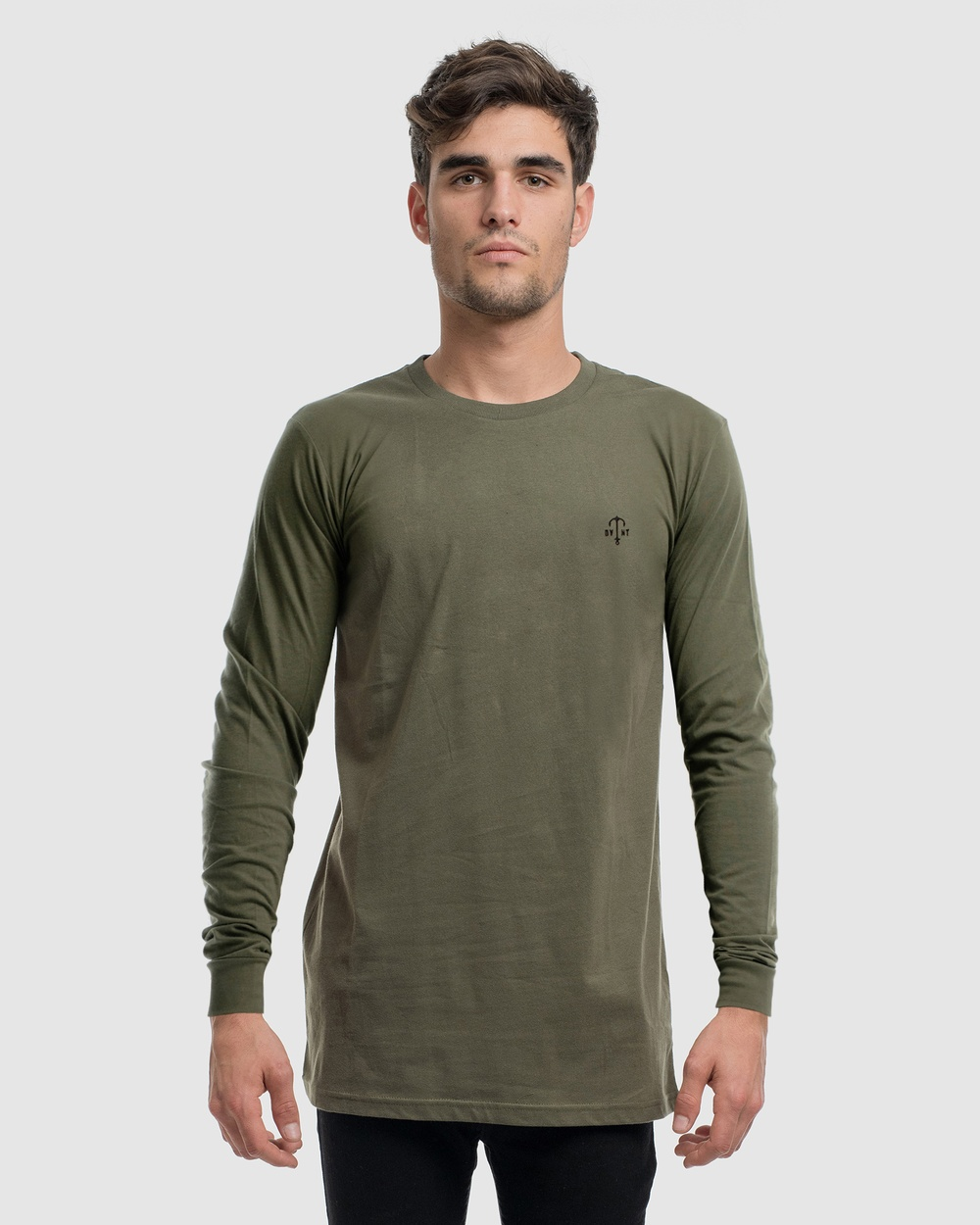 DVNT Anchor Embroidery Long Sleeve Tee - Long Sleeve T-Shirts (OLIVE)