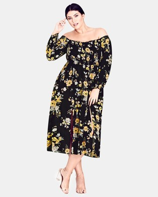City Chic – Miss Chirpy Dress – Printed Dresses Miss Chirpy