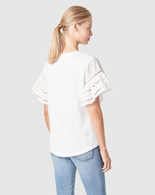 French Connection Flutter Sleeve T Shirt - T-Shirts & Singlets (WHITE)