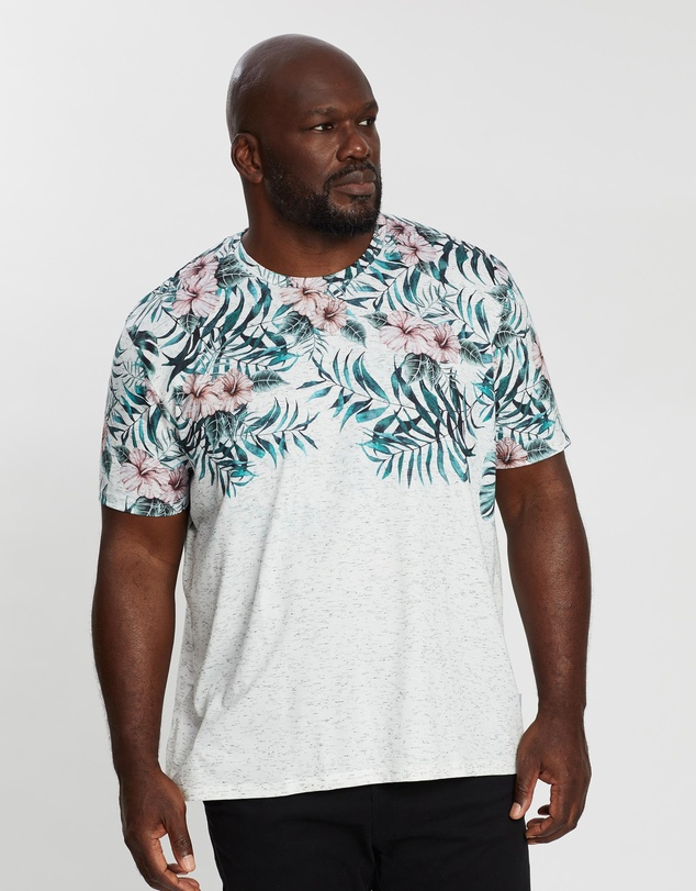Burton Menswear - Big & Tall Faded Floral Melange T-Shirt