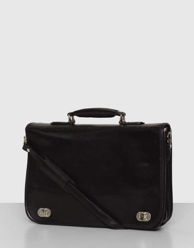 Men King Numa Black Leather Briefcase