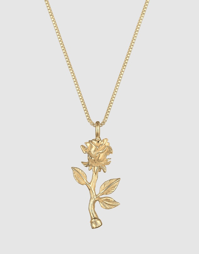 Elli Jewelry - Necklace Box Chain Rose Pendant in 925 Sterling Silver Gold Plated