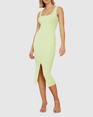 BY JOHNNY. Alice Split Knit Dress - Bodycon Dresses (Lime)