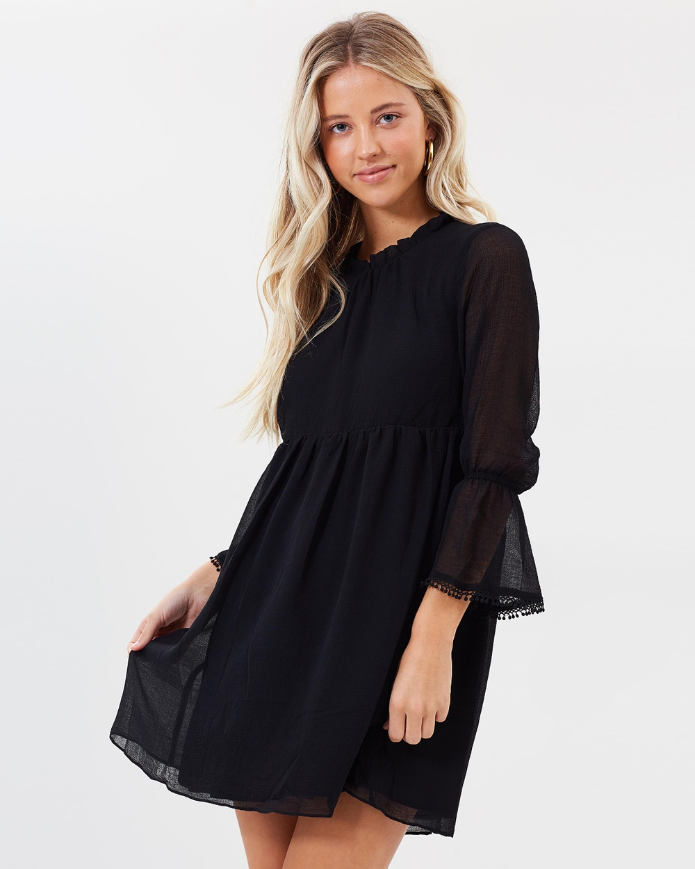 Dazie Azilane Crinkle Chiffon Dress Dresses Black Azilane Crinkle Chiffon Dress