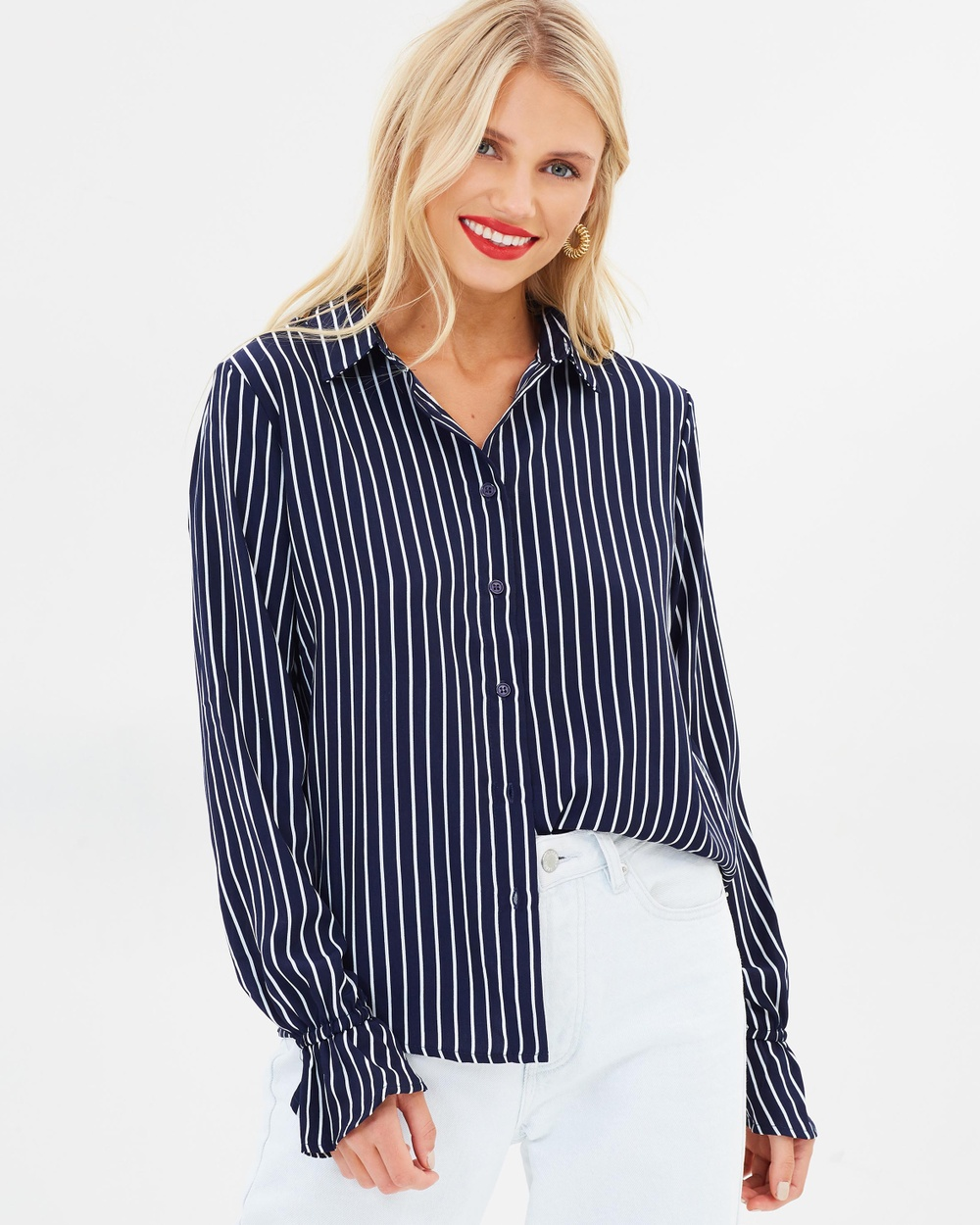 Atmos & Here ICONIC EXCLUSIVE Chiara Ruffle Button Top Tops Navy & White Stripe ICONIC EXCLUSIVE Chiara Ruffle Button Top