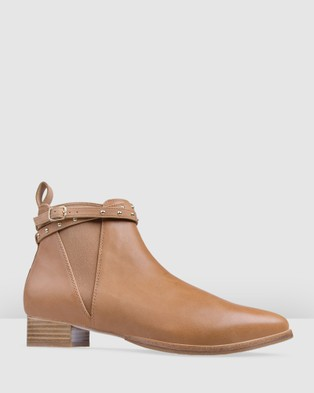 Bared Footwear - Conure Flat Boots Women's (Dark Tan Studded)