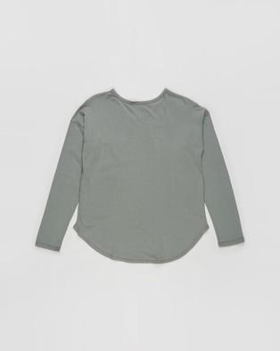 Decjuba Kids - Slouch Long Sleeve Tee   Teens - T-Shirts & Singlets (Dark Sage) Slouch Long Sleeve Tee - Teens