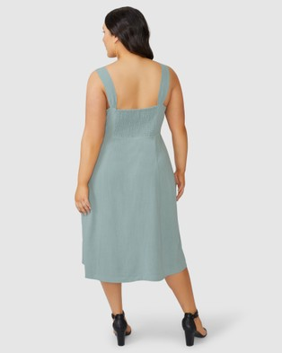 Something 4 Olivia Elizabeth Linen Midi Dress - Dresses (Green)