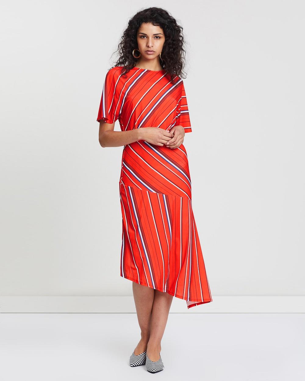 Warehouse Red Diagonal Stripe Printed Dress
