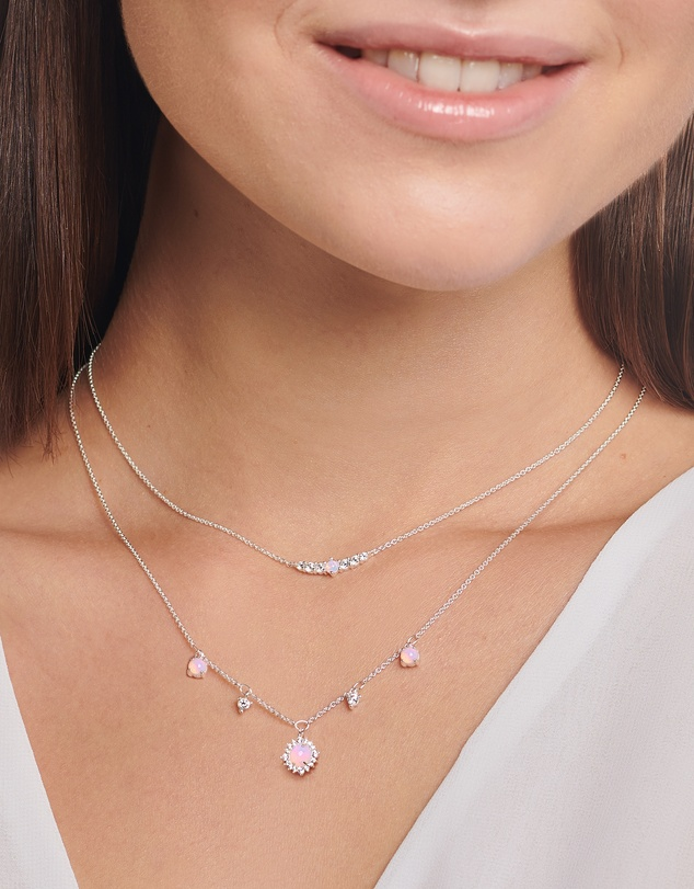 Women Necklace Pink Stone