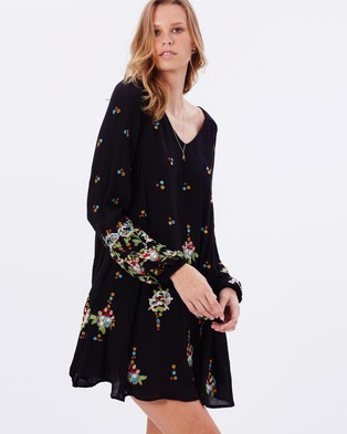 Buy Free People - Oxford Embroidered Mini Dress - Dresses (Black Combo) -  shop Free People dresses online