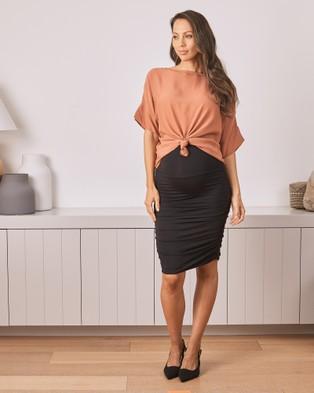 Angel Maternity Maternity Bodycon Side Ruching Skirt - Pencil skirts (Black)