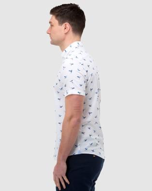 Brooksfield Bird Print Short Sleeve Casual Shirt - Casual shirts (WHITE)