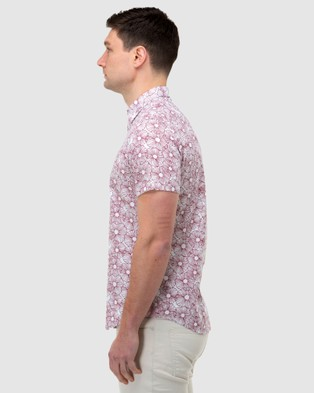 Brooksfield Flower Print Short Sleeve Casual Shirt - Casual shirts (Red)