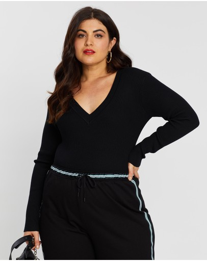 Missguided Curve Ultimate Knitted Plunge Bodysuit Black