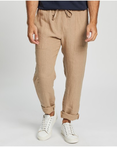Aere Linen Pull-on Pants Sand