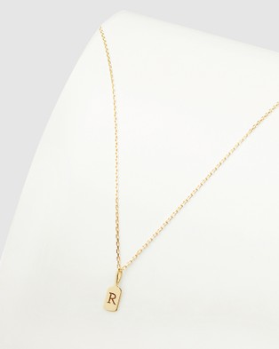 Luna Rae Solid Gold The Letter R Necklace Jewellery Gold