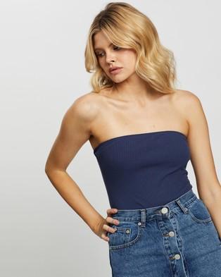 Glamorous Strapless Bodysuit - Tops (Navy)