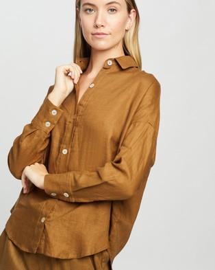 Le Buns Willow Linen Button Up Shirt - Tops (Cinnamon)