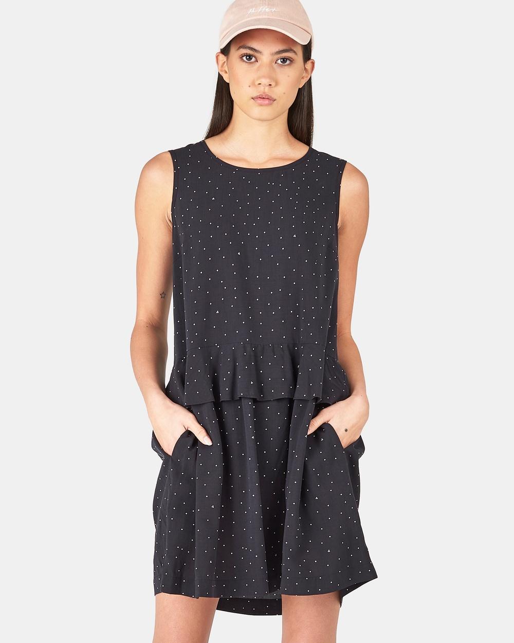 Huffer MONTY WAIST FRILL DRESS Dresses BLACK MONTY WAIST FRILL DRESS