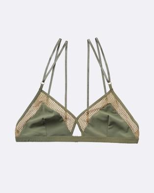 Elle Macpherson – Net Triangle Bra – Crop Tops (Khaki)