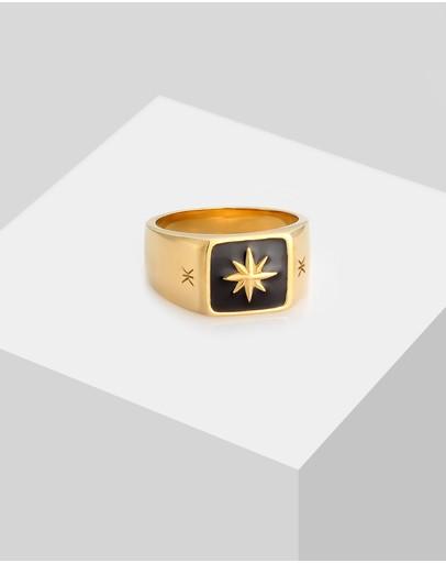Kuzzoi Ring Signet Enamel Black Star Basic In 925 Sterling Silver Gold Plated