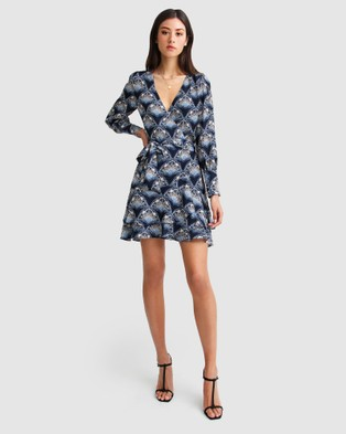 Belle & Bloom A Night With You Mini Wrap Dress - Dresses (Navy)