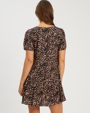 Tussah Cavan Mini Dress - Dresses (Nude Abstract Animal)