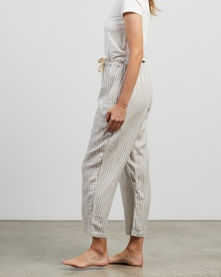 IN BED 100% Linen Pants - Sleepwear (Stripe)