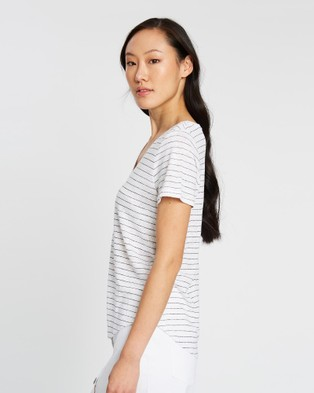 Sportscraft Tonia V Neck Linen Tee - T-Shirts & Singlets (white)