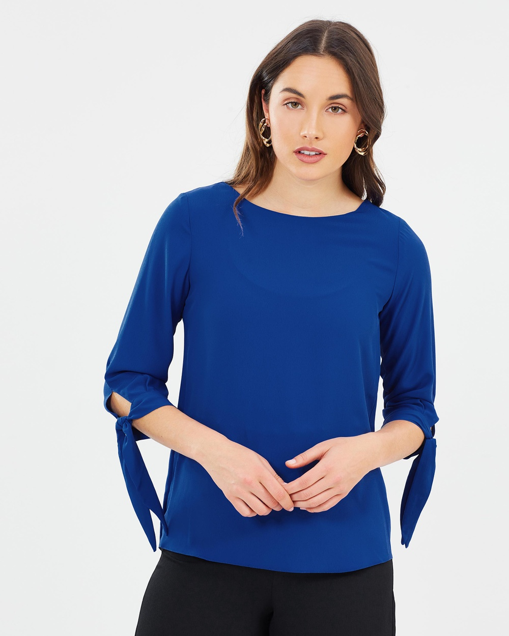 Dorothy Perkins 3 4 Tie Sleeve Top Tops Blue 3-4 Tie Sleeve Top