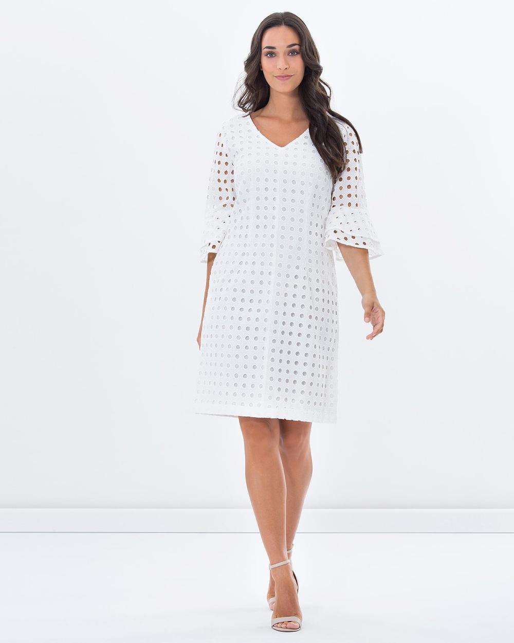 Privilege White Provincial Ruffle Sleeve Dress